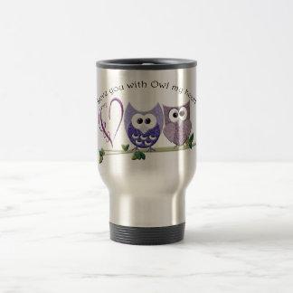 Love you with Owl my heart, cute Owls art gifts Travel Mug