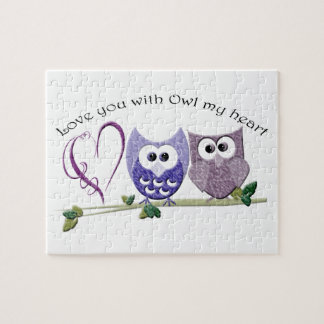 Love you with Owl my heart cute Owls art Puzzles