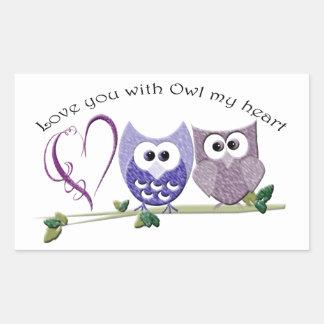 Love you with Owl my heart, cute Owls art Rectangular Sticker
