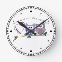 Love you with Owl my heart, cute Owls art Round Clock