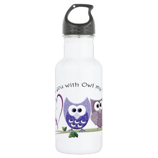 Love you with Owl my heart, cute Owls art Stainless Steel Water Bottle