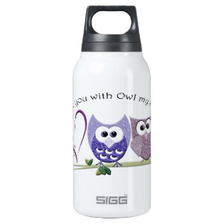 Love you with Owl my heart, cute Owls art Thermos Water Bottle