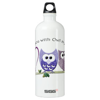 Love you with Owl my heart, cute Owls art Water Bottle