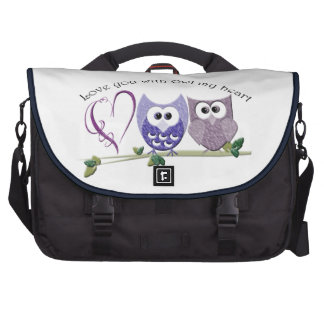 Love you with Owl my heart cute Owls  Messenger Ba Bags For Laptop