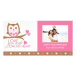 Love you with owl my heart photo greeting card