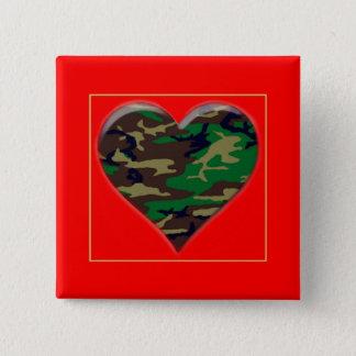 Love You Woodland Camo Heart  Valentine Button