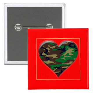 Love You Woodland Camo Heart  Valentine Button