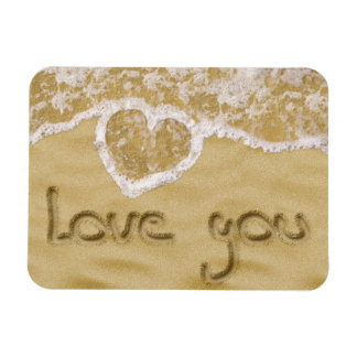 """Love you"" written in sand - Flexible Magnet"