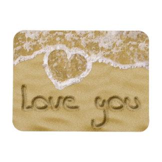 """Love you"" written in sand - Flexible Magnet"