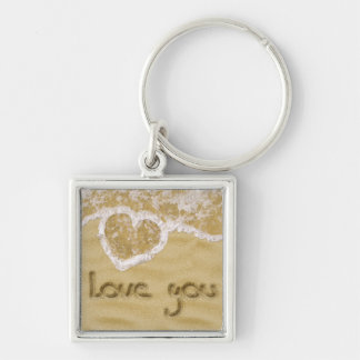 """""""Love you"""" written in sand - Keychain square"""