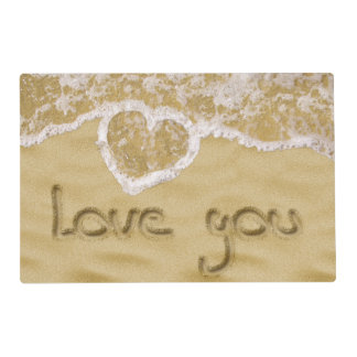 """""""Love you"""" written in sand - Laminated Placemat"""