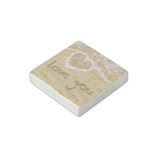 """""""Love you"""" written in sand - Marble Stone Magnet"""