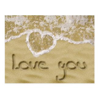 """Love you"" written in sand - Postcard"