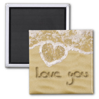 """Love you"" written in sand - Square Magnet"
