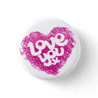 Love you x pink heart badge button