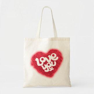 Love you x red heart swirls tote bag