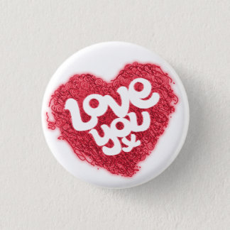 Love you x red on white heart badge pinback button