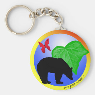 Love Your Earth Bear and Butterfly Keychain