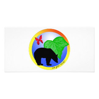 Love Your Earth Bear and Butterfly Photo Greeting Card