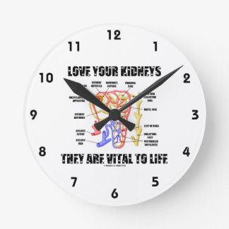 Love Your Kidneys They Are Vital To Life (Nephron) Round Wallclocks