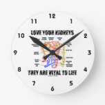 Love Your Kidneys They Are Vital To Life (Nephron) Round Clock
