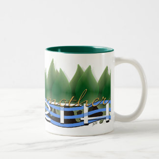 Love Your Mother Earth: Green Leaves & Water Two-Tone Coffee Mug
