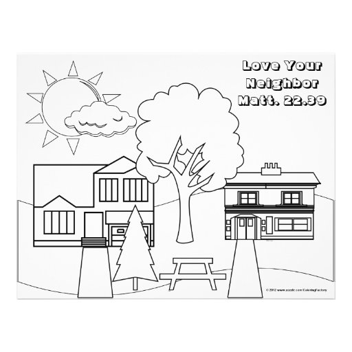 Love Your Neighbor Coloring Page 25 Pack 2 Sided Flyer