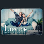 "Love | Your Personal Photo and a Heart Magnet<br><div class=""desc"">This cute magnet features your personal photo,  along with the word &quot;love&quot; in elegant white modern typography and a heart.</div>"