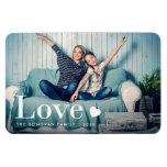 Love | Your Personal Photo and a Heart Magnet<br><div class='desc'>This cute magnet features your personal photo,  along with the word &quot;love&quot; in elegant white modern typography and a heart.</div>
