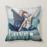 "Love | Your Personal Photo and a Heart Throw Pillow<br><div class=""desc"">This cute and stylish pillow features two of your personal photos,  along with the word &quot;love&quot; in elegant white modern typography and a heart.</div>"
