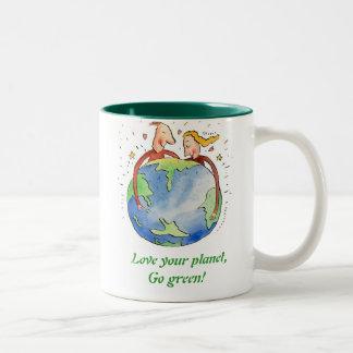 Love your planet,, Go green! Mug