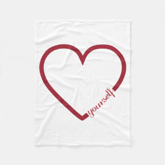 Love yourself heart minimalistic design fleece blanket