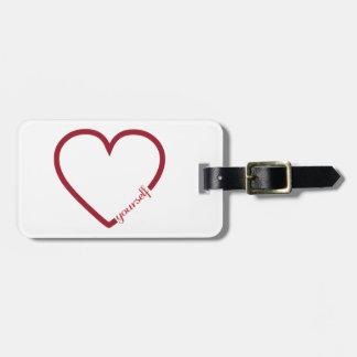 Love yourself heart minimalistic design luggage tag