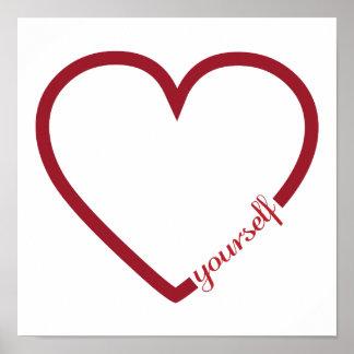 Love yourself heart minimalistic design poster