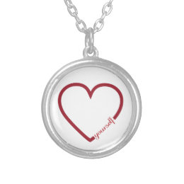Love yourself heart minimalistic design silver plated necklace