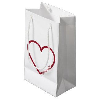 Love yourself heart minimalistic design small gift bag