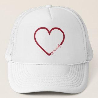 Love yourself heart minimalistic design trucker hat
