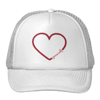 Love yourself heart minimalistic design trucker hat
