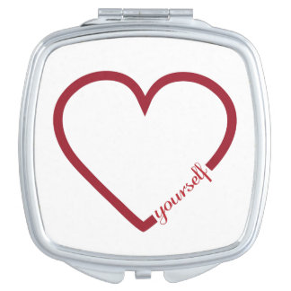 Love yourself heart minimalistic design vanity mirror