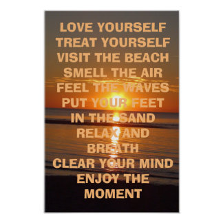Love Yourself Inspirational Beachy Quote Poster