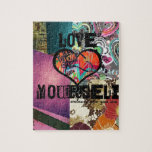 "Love Yourself Inspirational Digital Collage Jigsaw Puzzle<br><div class=""desc"">Inspirational Digital collage.</div>"