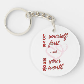 Love Yourself Know Your Worth Quote Self Esteem Keychain