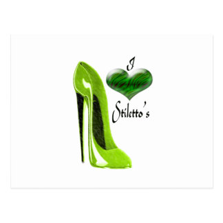 Love Zesty Lime Green Stiletto Shoe and Heart Post Cards
