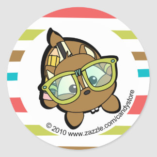 Loveable Smarty Chipmunk Classic Round Sticker