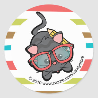 Loveable Smarty Kitten Classic Round Sticker