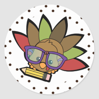 Loveable Smarty Turkey Classic Round Sticker