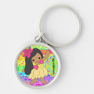 Loveables Hula Dancer Girl Silver-Colored Round Keychain