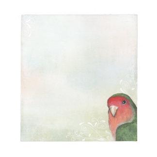 Lovebird Atractivo-hecho frente con remolinos y Blocs De Notas