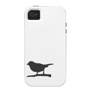 Lovebird blanco del negro de la rama del pájaro de iPhone 4 funda