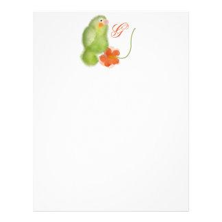 Lovebird con el papel con membrete rojo de la flor plantilla de membrete